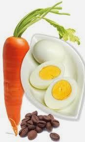 Huevo, zanahoria y café